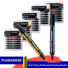 WINSOR & NEWTON Professionelle Marker Stift 6/12 Farben Doppel-seite (runde kappe und schräge) zeichnung Design Marker Stift Kunst Liefert