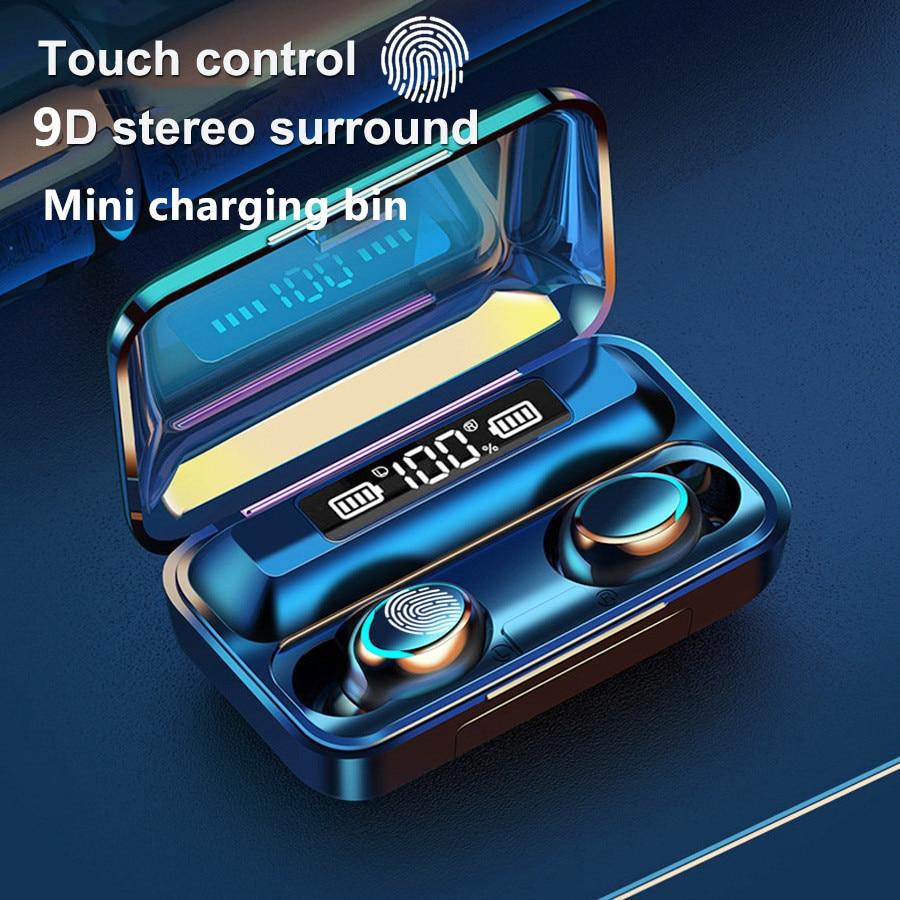 TWS Wireless Earphones Bluetooth Earphones 5.0 9D Bass Stereo waterproof Earbuds Handsfree Headset With Microphone Charging Case