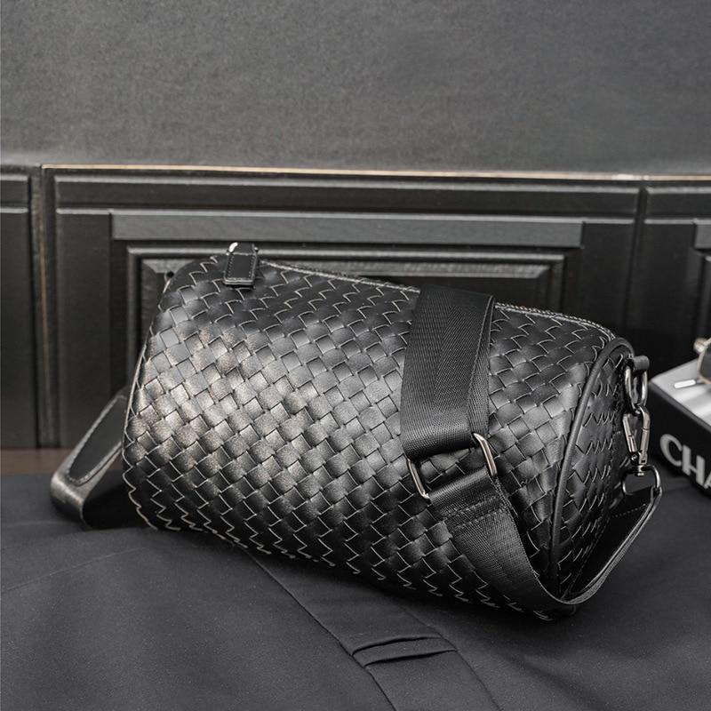 Fashion Bucket Shoulder Bag Men Weave PU Leather Men Crossbody Bag Travel Bag Multifunctional Messenger Bag Male Cross Body Bag