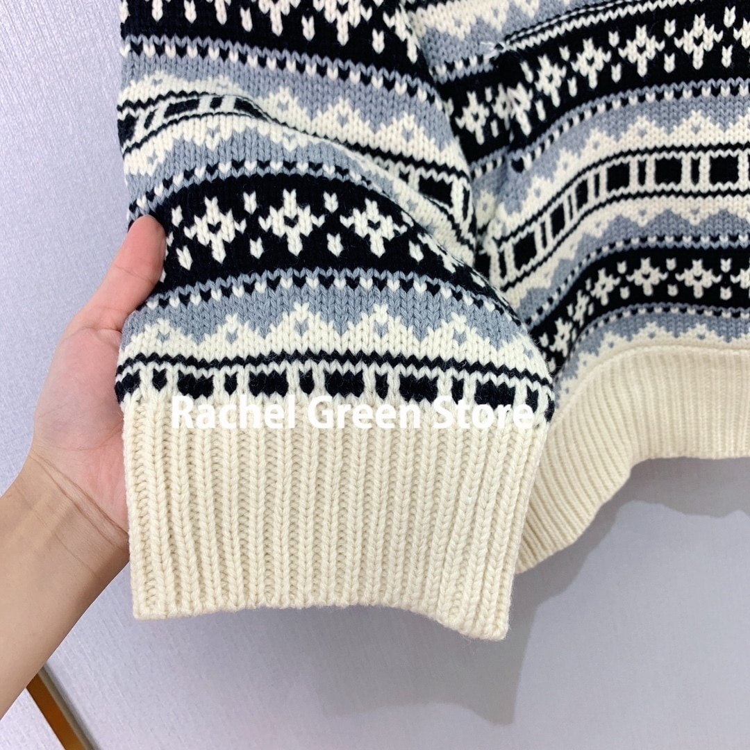luxury designer high end sweater women Jacquard Sweater Women  Autumn Winter 2021 New Wool hooded vintage style woman Sweaters enlarge
