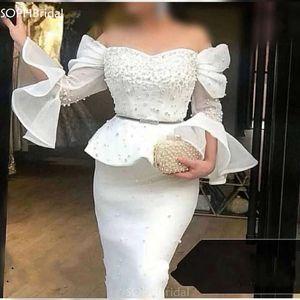 New Arrival Off The Shoulder Muslim Evening Dresses 2021 Mermaid Pearls Dubai Saudi Arabic Long Evening Gown Robe de Soirée