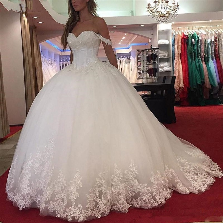 NUOXIFANG Lace Appliques Ball Gown White Wedding Dresses Sweetheart Beaded Princess Bride robe de mariee 2020