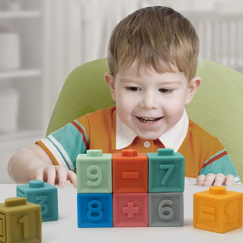 الأطفال المعرفية لعب للتعلم الجسيمات الكبيرة لينة البلاستيك اللبنات سلامة الاطفال التدريب العقلي ألعاب تعليمية