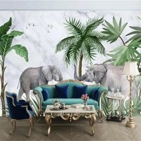 milofi custom non woven wallpaper large wallpaper mural fresh elephant marble pattern plant forest background wall