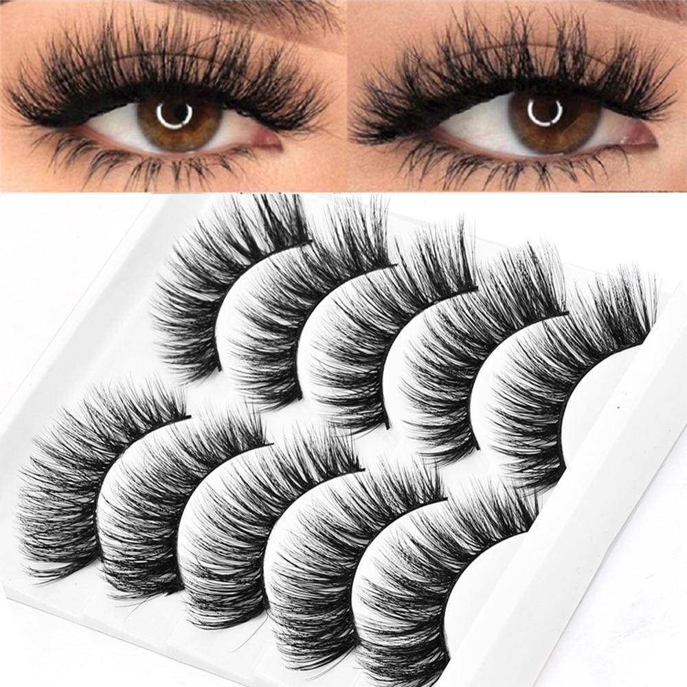 5 זוגות בחבילה 5D רך מינק שיער ריסים מלאכותיים בעבודת יד דליל פלאפי ארוך ריסים טבע עין איפור כלים פו העין ריסים