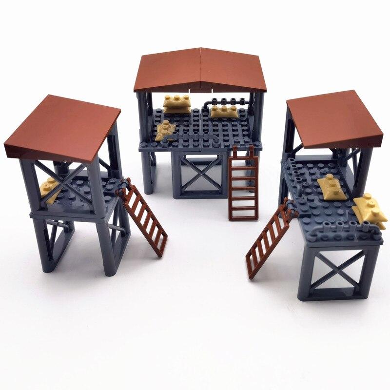 Военные строительные блоки, аксессуары WW2, оружие, блоки для оружия, запасные части MOC Сторожевая Башня, армейские блоки, совместимые с город...