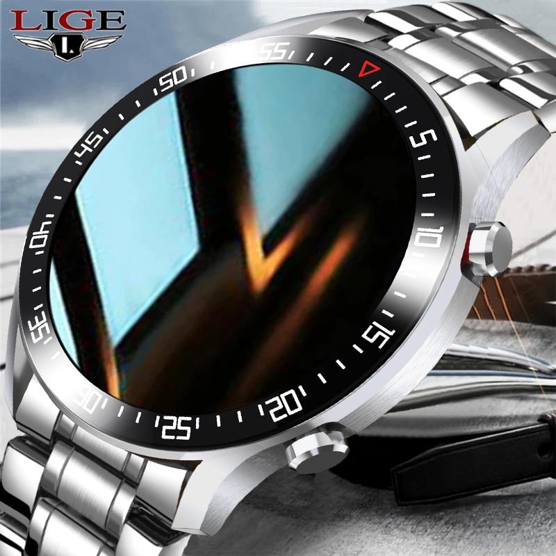 LIGE ساعة ذكية الرجال smartwatch LED شاشة تعمل باللمس الكامل ل أندرويد iOS معدل ضربات القلب ضغط الدم رصد مقاوم للماء اللياقة البدنية ساعة