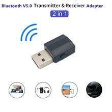 BT600 2In1 BT 5.0 o Receiver Transmitter Wireless Adapter Mini 3.5mm AUX Stereo Transmitter for TV PC Car Speaker