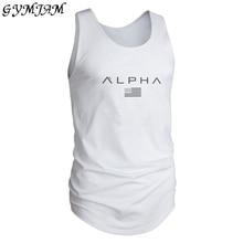 Muscular men's fitness sports sweatshirt brand men's vest cotton printed fashion sportswear outdoor leisure vest men