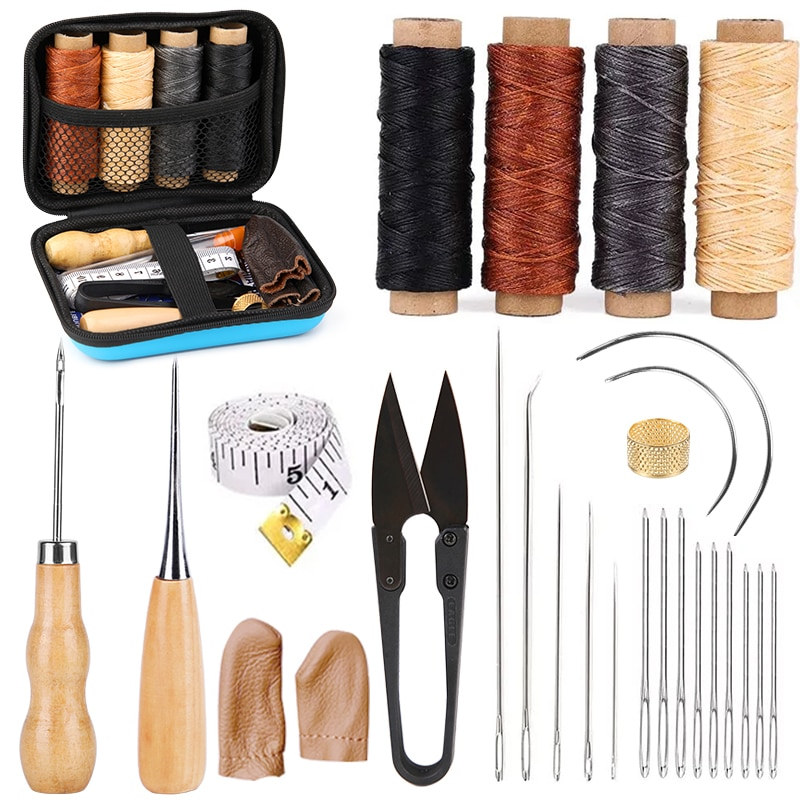 KAOBUY 28PCS Leather Sewing Kit With Large-Eye Stitching Needles, Waxed Thread, Leather Sewing Tools For DIY Leather Craft