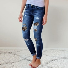 Fashion Ladies Trousers Ripped Leopard Print Slim Jeans Button Small Feet Pencil Pants High Stretch