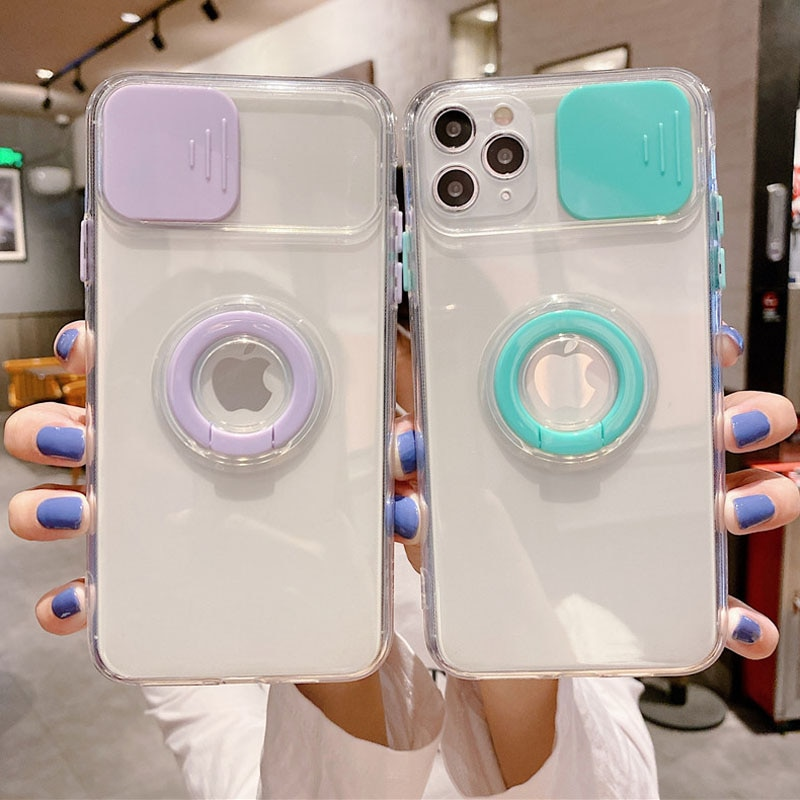 AliExpress - moskado Ring Holder Lens Camera Protection Case for iPhone 11 Pro Max 12 13 Mini X XS Max 7 8Plus SE 2020 Transparent Soft Cover