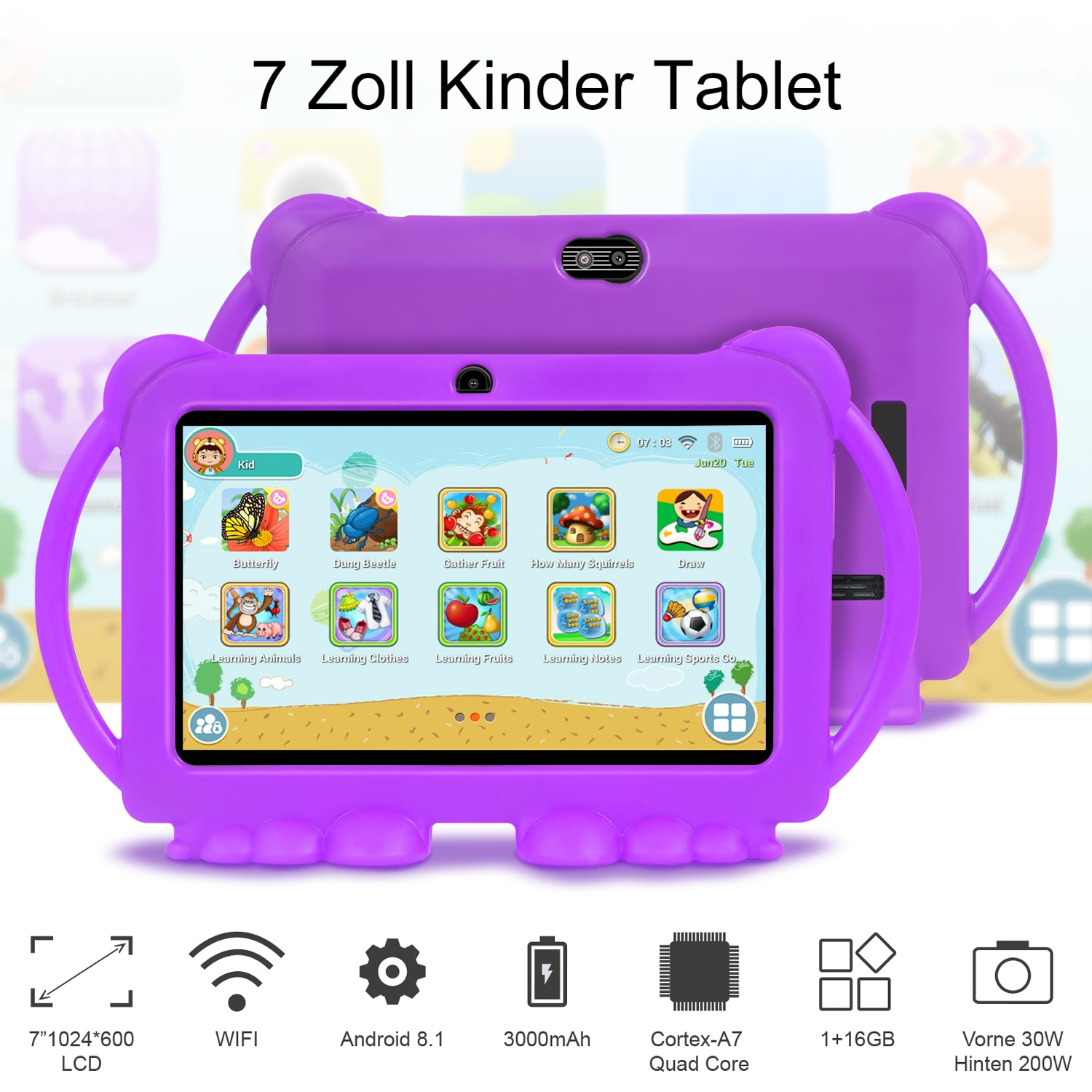 Tablet Children Learning Education Tablets 7 Inch Best Gift for Kids Tablet Android 10.0 Quad Core 1GB3GB 16GB32 Tablet Computer
