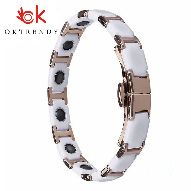 OKtrendy Ceramic Bracelets Female Germanium Stainless Steel Magnetic Bangle Benefits Health Care Rose Gold Link Charm Bracelet