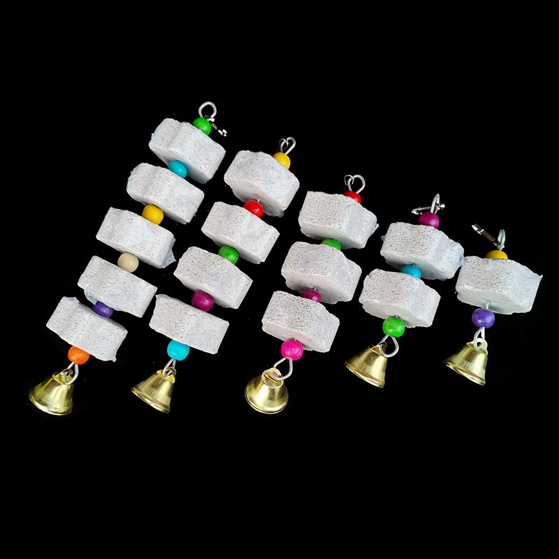 Stone Mineral for Parrot Pet Supplies Bird Cage Toy Grinding Stone Flower Shape Hang Style Parakeet