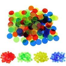 100 pièces 1.5cm jetons de Poker en plastique Casino Bingo marqueurs pour lamusement famille Club carnaval Bingo jeu 4 couleurs