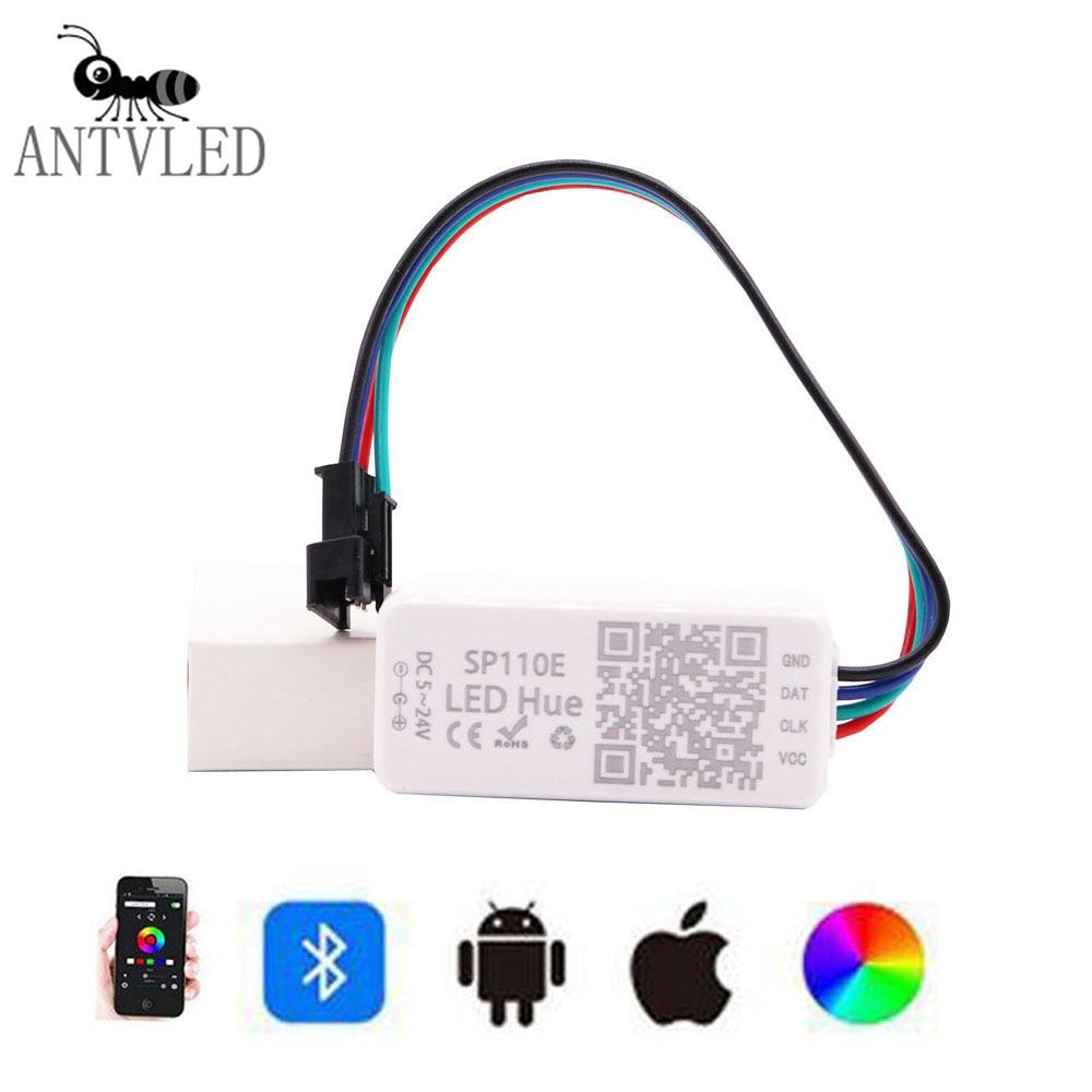 SP110E Bluetooth Pixel Controller WS2811 WS2812B SK6812 RGB RGBW APA102 Magic Lights Strip Smart Phone APP IOS Android DC5-12V