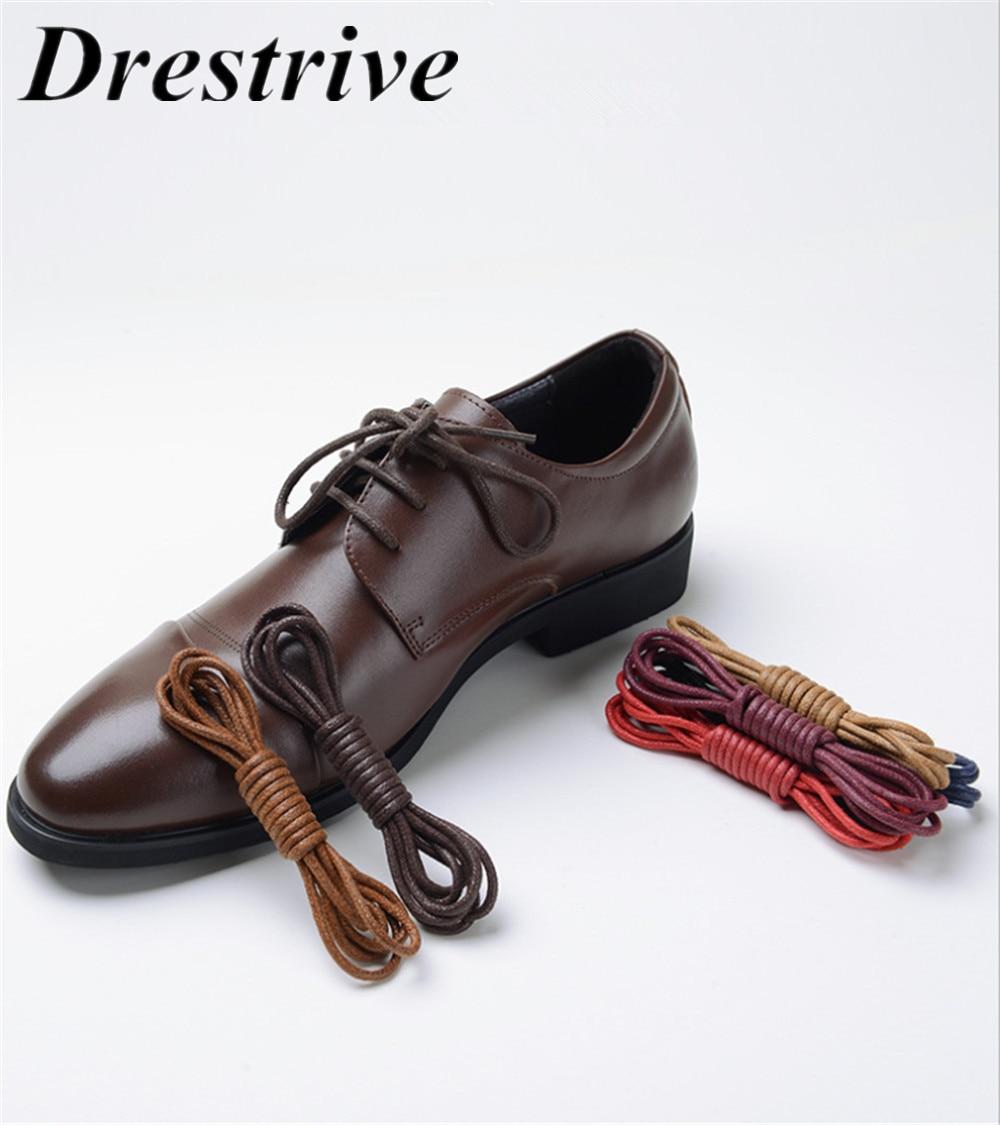 1 par de cordones de zapatos redondos encerados de alta calidad para botas Martin zapatos de cuero para hombre cordones de algodón Casual negro