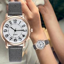 Simple Adjustable Watch Women Round Dial Arabic Number Faux Leather Analog Quartz Wrist Watch Ladies Female Gift Женские часы
