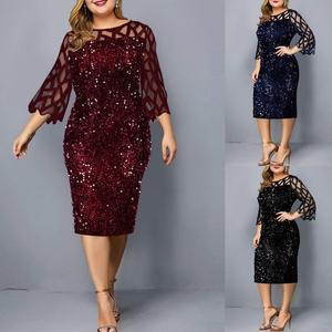 Fashion Formal Dress Women Elegant Solid Gauze Sequins Patchwork See-through Sundress O-Neck Evening Party Dresses Vestido