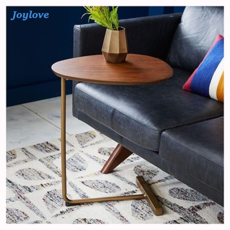 JOYLOVE Simple Modern Side Table Iron Art Sofa Corner Table Lazy Bedside Reading Oval Coffee Table Tea Solid Wood Countertop