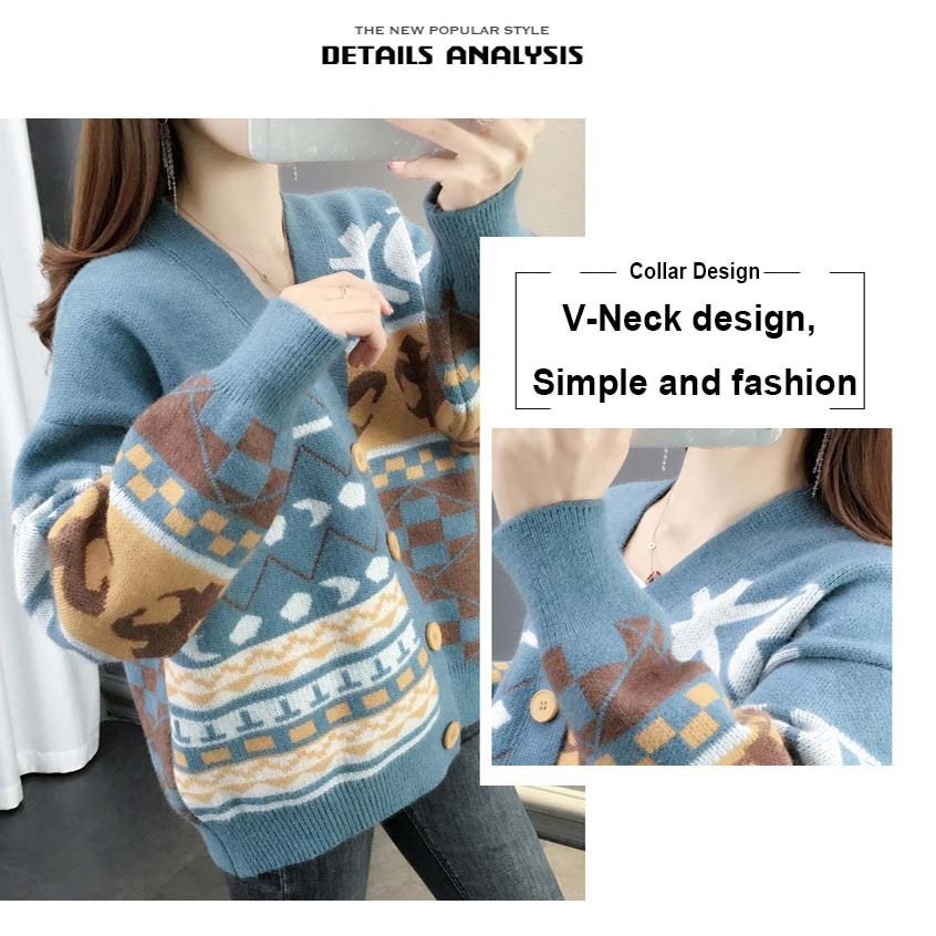 Women V-Neck Knitted Ethnic Wind Cropped Cardigan Outwear Sweater Female Casual Patchwork Vintage Floral Long Sleeve Streetwear enlarge