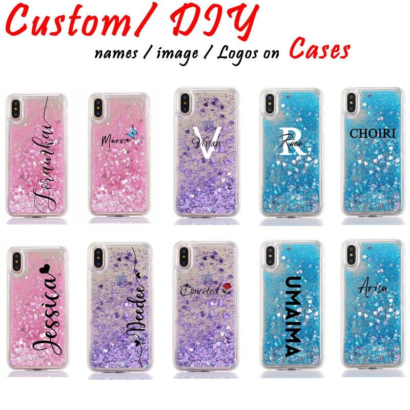 Personalizado personalizado letras de nome caso de telefone para iphone 11 pro 6s xs max 7 mais 8 8plus x brilho líquido macio brilho rosa capa