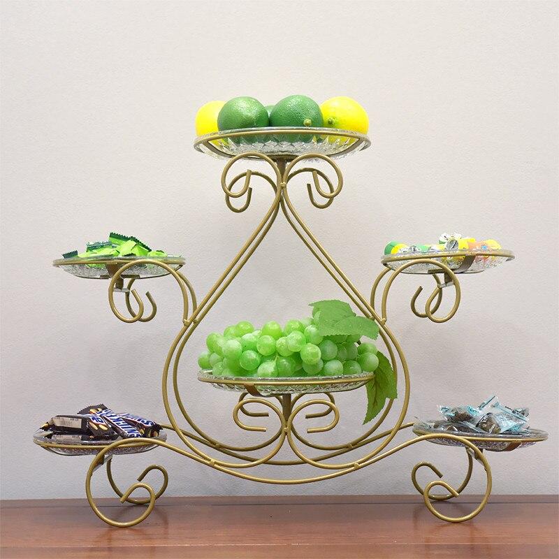 Metall Stehen Drei-schicht Frucht Platte Kuchen Stehen Dessert Gemüse Familie Obst Stehen Buffet Kuchen Display Ständer Hochzeit Hotel det