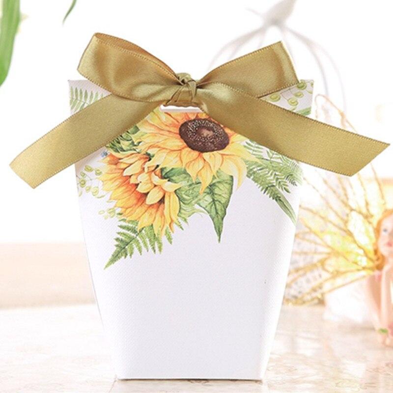 10 шт. Цветочные бумажные свадебные сувениры, подарочные коробки для конфет с лентой для свадьбы, помолвки, свадебной вечеринки
