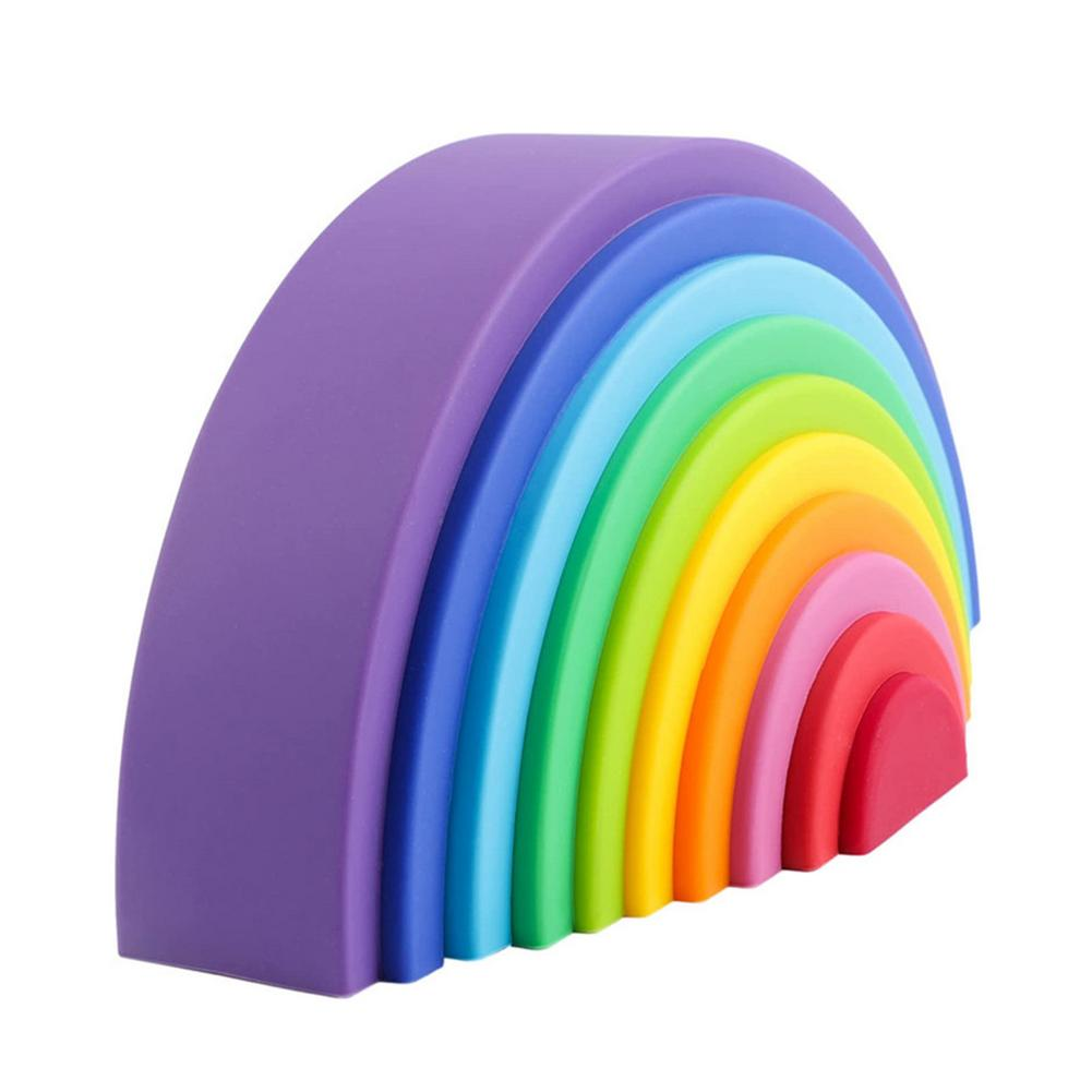 10 цветов, силиконовые радужные игрушки для детей, малыш, Радужный штабелер, строительные блоки Монтессори, Развивающие детские игрушки