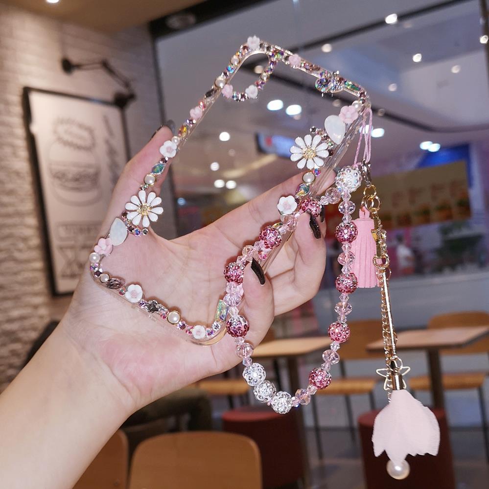 Para iphone 11 pro de lujo flor Bling Crysta caso de diamantes para iphone XS max XR 8X6 6S 7 7 plus chica mujer regalo caso + correa