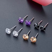 simple handmade natural cz crystal stud earring 2021 fashion women inlay zircon anti allergy earring charm women wedding jewelry