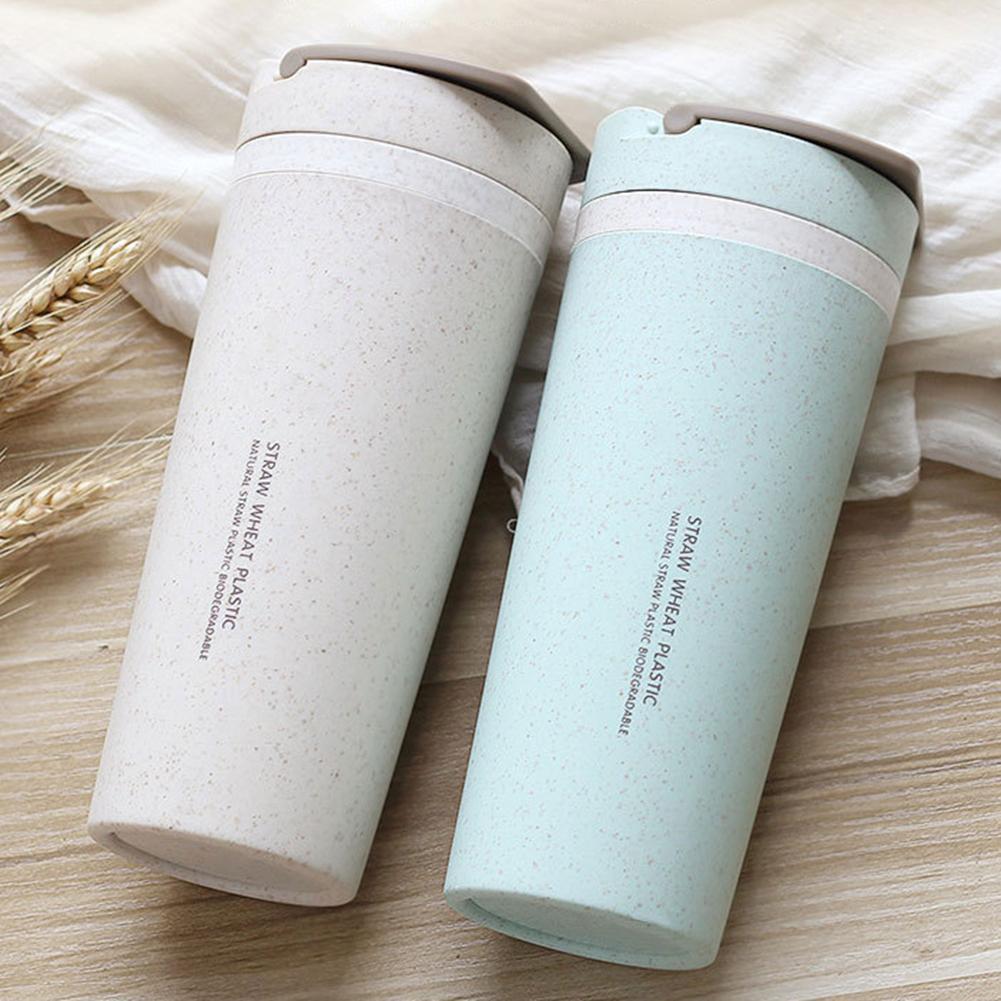 500ml portátil de paja de trigo de doble pared con aislamiento botella taza de taza para té y café aislado Bo