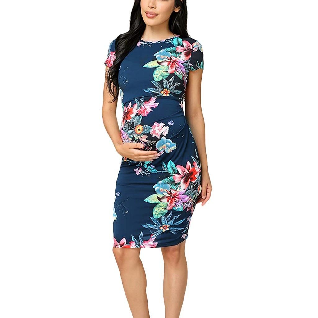 Womens Maternity Chinese Cheongsam Short Sleeve Flower Dress O-neck Floral Print Dress Pregnancy Clothes vestido gestante L1225