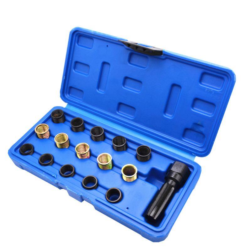 16 pçs m14x1.25 spark plug rethread kit de ferramentas reparo fio manga universal carro com caso