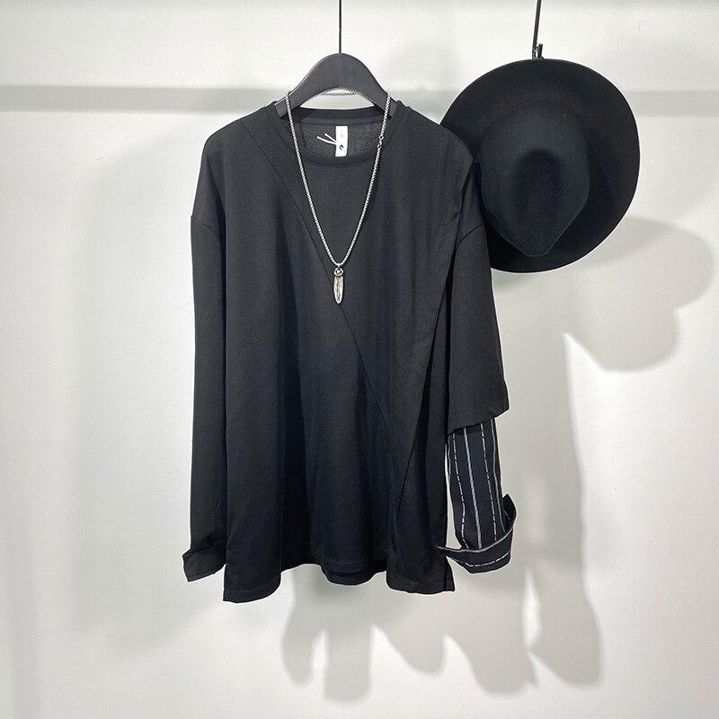 أوين ساك الرجال القطن بلوزات البلوز القوطية نمط ملابس للرجال ربيع الخريف المرأة الصلبة الأسود قاع قميص