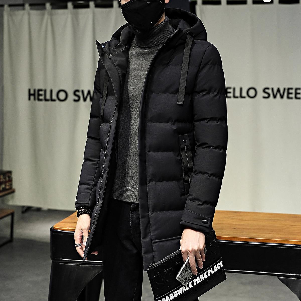 Мужская зимняя куртка, Корейская версия, одежда средней и длинной хлопковой одежды, молодежная утепленная теплая пуховая одежда из хлопка, ...