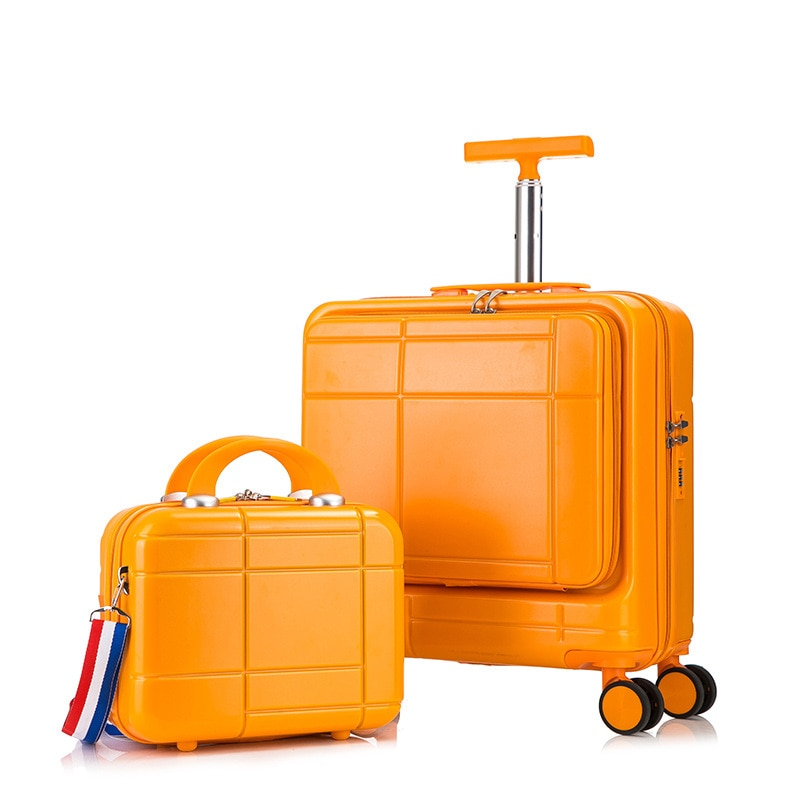 18 inch Business Rolling Luggage Trolley Travel Suitcase with Universal Wheel Front Opening Password Makeup Carry-ons Luggage