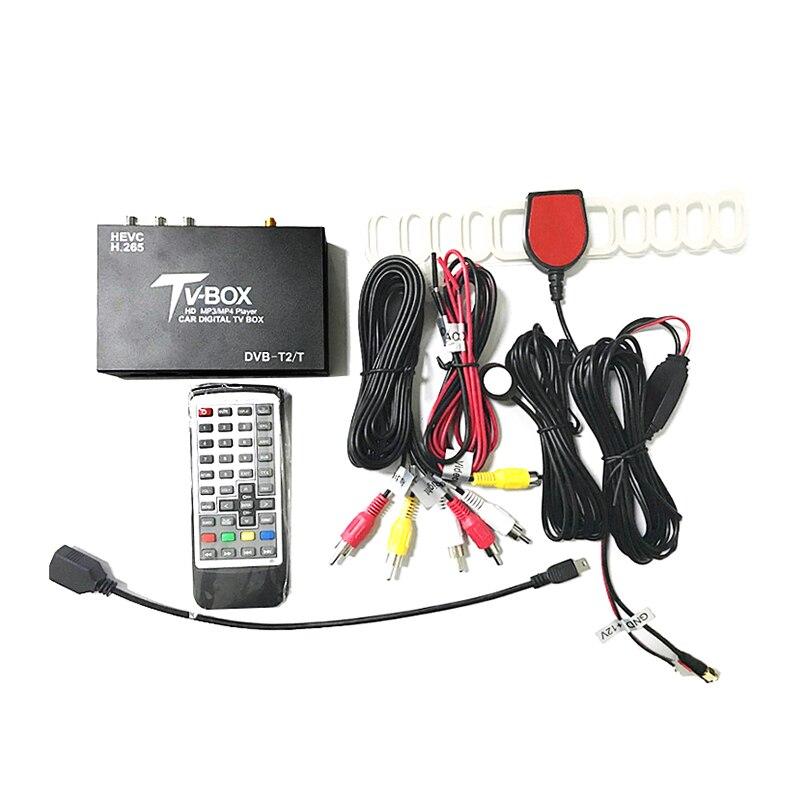 Receptor de TV Digital móvil HD DVB-T2 para coche MPEG-4 H.264 sintonizador análogo Antena del receptor