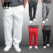 men's Sportswear Joggers fitness training cargo Sweatpants Loose Elastic waist Brand Trousers cotton