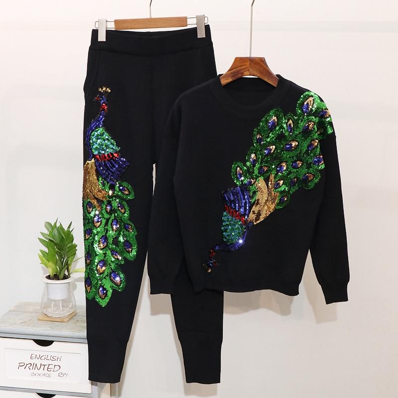 Suéter de punto para mujer, Otoño Invierno 2020, con lentejuelas, patrón de pavo real, pantalones largos de tubo, chándales de mujer, conjunto de 2 piezas holgado Casual