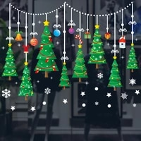 christmas tree decoration glass windows wall sticker wall decals festival home decoration happy new year stickers wallpaper