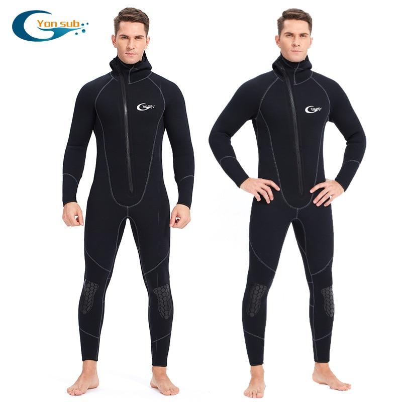 Traje de neopreno grueso de 5mm, traje de buceo de una pieza para pesca submarina, traje de buceo térmico de manga larga para hombre y mujer, traje de baño de invierno para surf