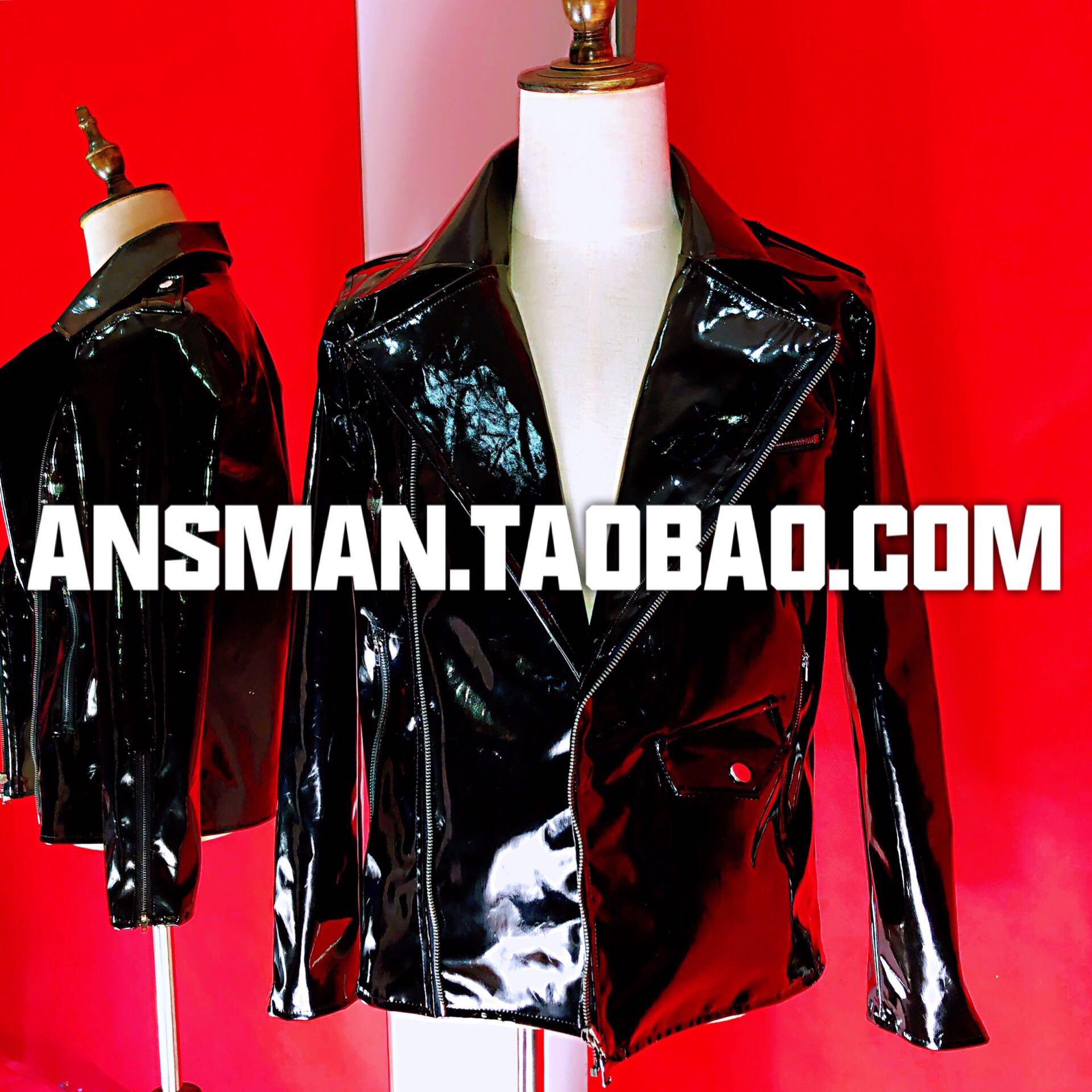 Popular club nocturno nuevo Bar hombres cantante chaqueta de cuero Ds hombres moda brillante charol abrigo motocicleta masculino Punk chaquetas traje