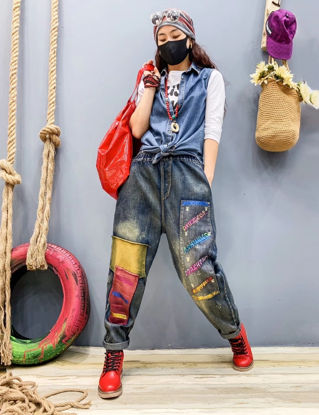 بنطلون جينز نسائي ملون ، بنطلون فضفاض مرن ، تصميم كوري فاخر ، بانك ، مجموعة خريف 2020 LT009S30