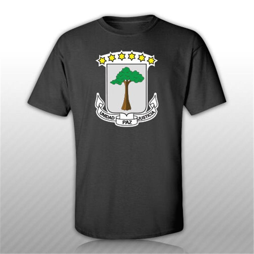 Guinea Ecuatorial el escudo de armas de Camiseta Tee camiseta etiqueta engomada libre Guinea Ecuatorial Bandera de calidad Superior Tee Shirt