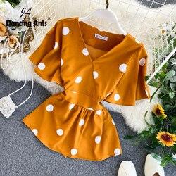 Mulheres magras camisas borboleta manga com decote em v polka dot print magro camisa frenulum babados blusa elegante 2020 moda