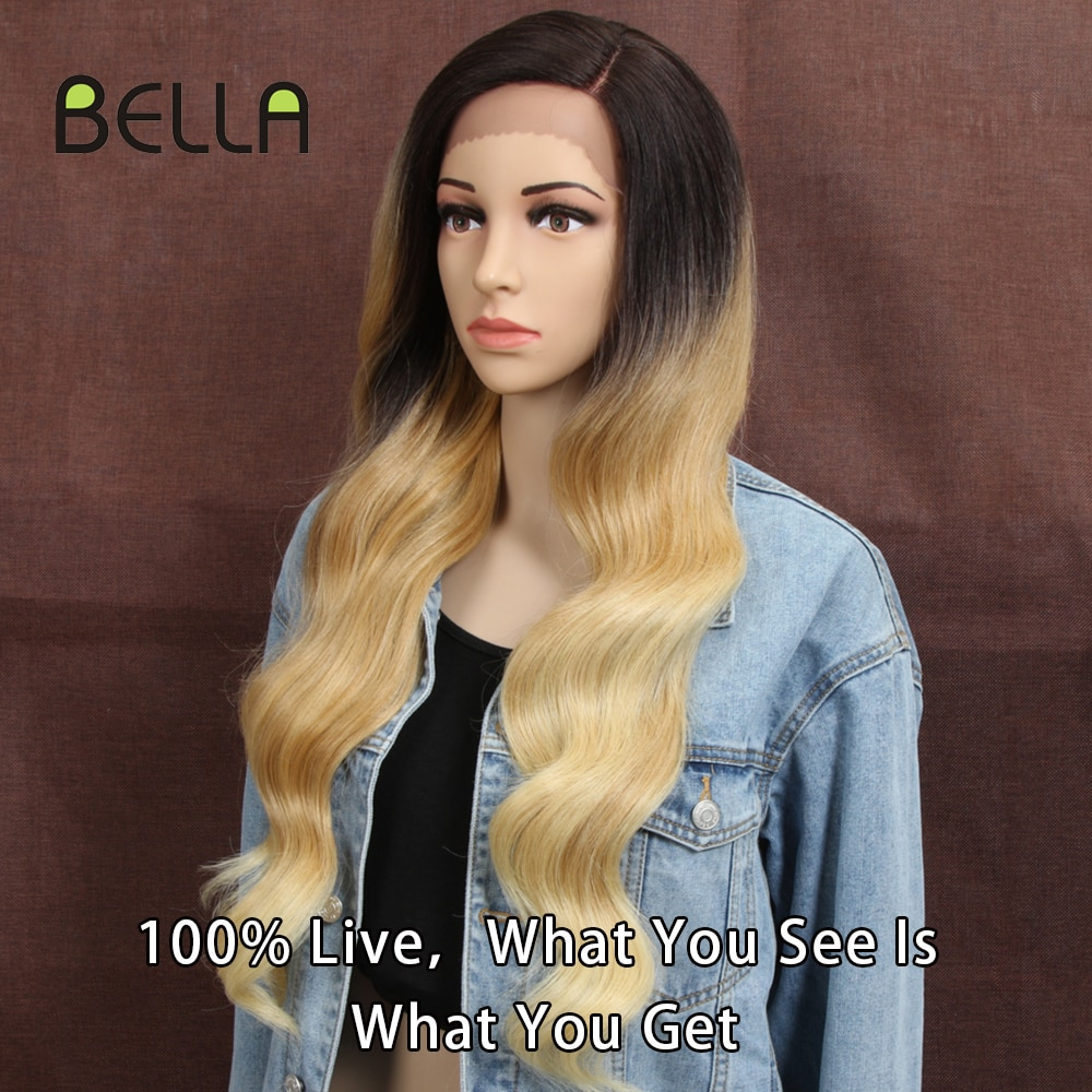 AliExpress - Bella Synthetic Lace Front Wig Blonde Pink Body Wave 28 Inch Ombre Red Blonde Heat Resistant Wigs For Black Women Lolita Cosplay