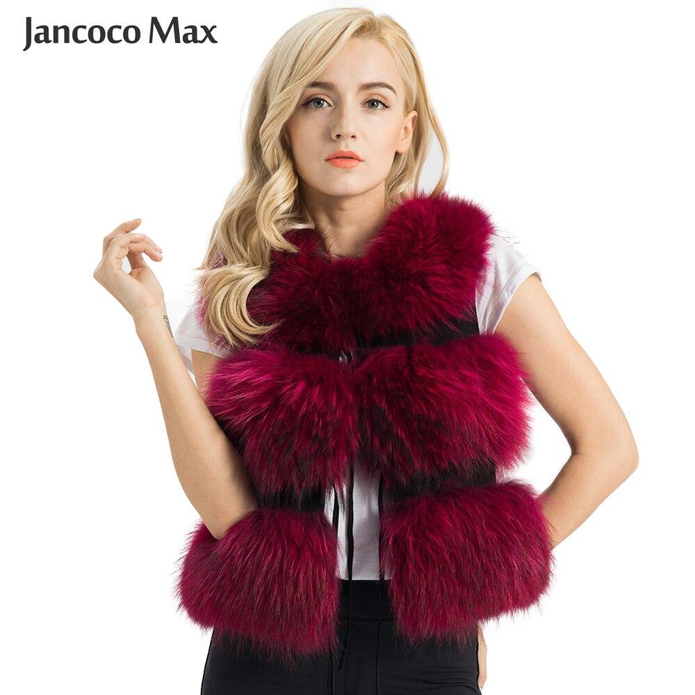 Женский жилет Jancoco Max, зимний жилет из натурального меха енота, меховая куртка, 3 ряда, S1150