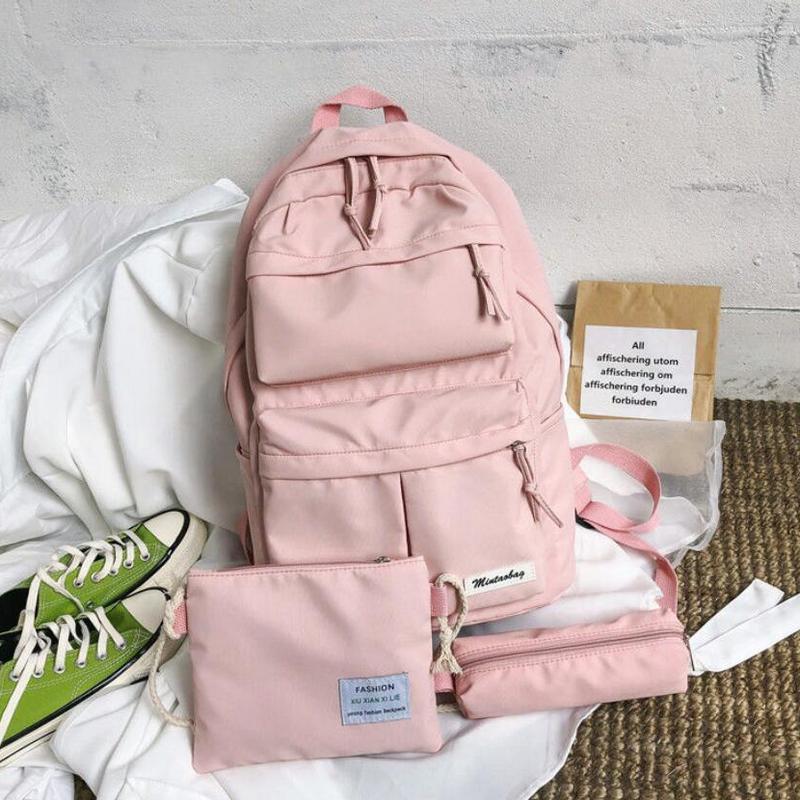 3 Piece Set Middle High School Bags for Teenage Girls Pink Oxford Backpack School Women Bookbags Teen Schoolbag Student Bagpack